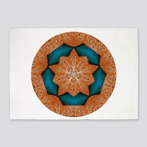Coral Starfish Wreath with Turquois 5'x7'Area Rug