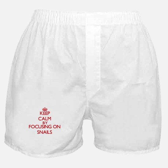 Keep Calm by focusing on Snails Boxer Shorts