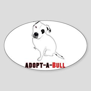 White Pitbull Puppy Adopt-a-Bull Sticker