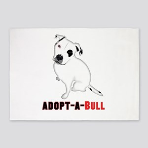 White Pitbull Puppy Adopt-a-Bull 5'x7'Area Rug