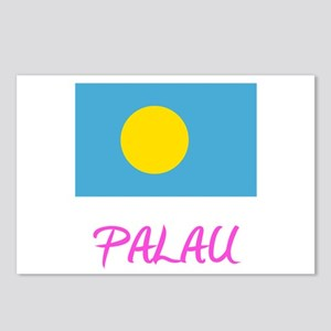 Palau Flag Artistic Pink Postcards (Package of 8)