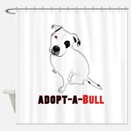 White Pitbull Puppy Adopt-a-Bull Shower Curtain