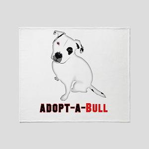 White Pitbull Puppy Adopt-a-Bull Throw Blanket