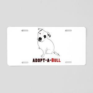 White Pitbull Puppy Adopt-a Aluminum License Plate