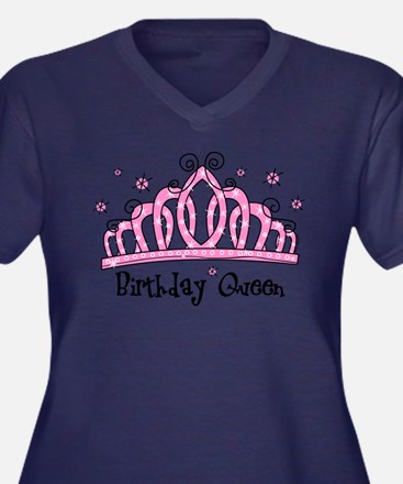 Tiara Birthday Queen V-Neck (dar Plus Size T-Shirt