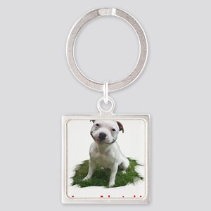 Smiling Pitbull Adopted Keychains