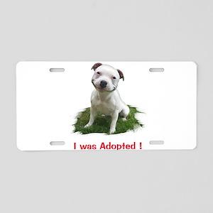 Smiling Pitbull Adopted Aluminum License Plate