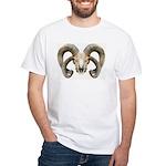 4 Horn Sheep Skull White T-Shirt