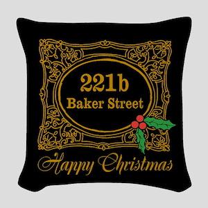 Baker Street Christmas Woven Throw Pillow