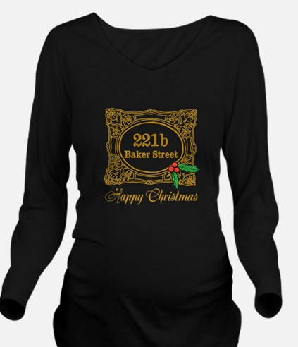 Baker Street Christmas Long Sleeve Maternity T-Shi
