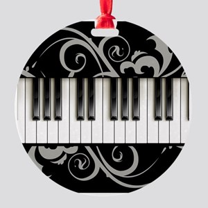 Piano Keyboard Round Ornament