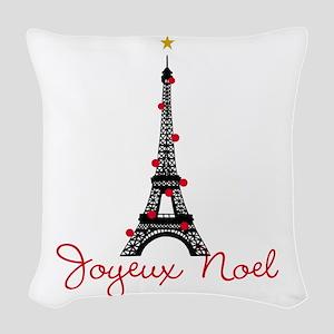 Paris Christmas Woven Throw Pillow