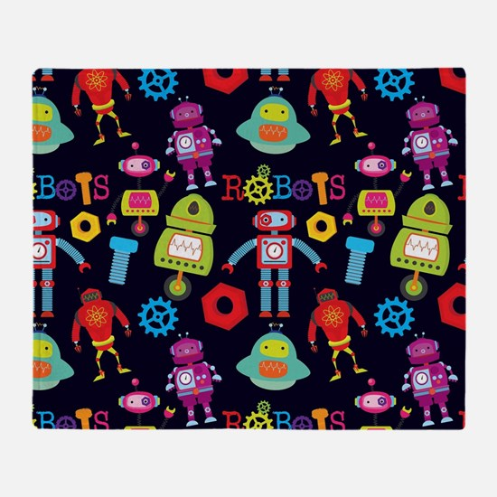 Funny Robot Throw Blanket