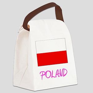 Poland Flag Artistic Pink Design Canvas Lunch Bag