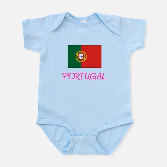 Portugal Flag Artistic Pink Design Body Suit