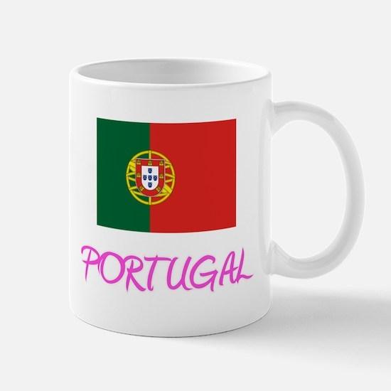 Portugal Flag Artistic Pink Design Mugs