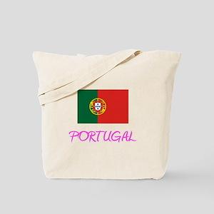 Portugal Flag Artistic Pink Design Tote Bag