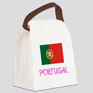 Portugal Flag Artistic Pink Desig Canvas Lunch Bag