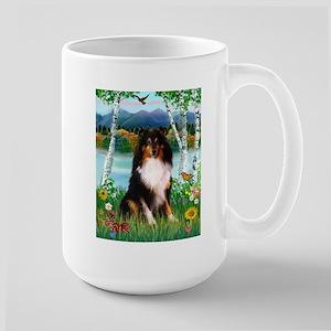 Country Birches & Shetland Sheepdog Large Mug