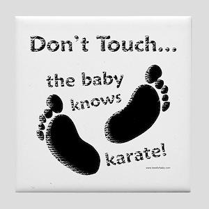 Karate Baby Black Tile Coaster