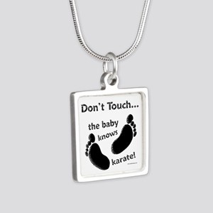 Karate Baby Black Silver Square Necklace