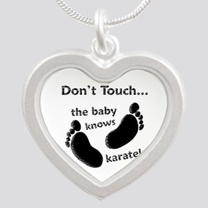 Karate Baby Black Silver Heart Necklace