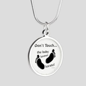 Karate Baby Black Silver Round Necklace