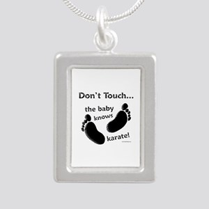 Karate Baby Black Silver Portrait Necklace
