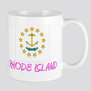 Rhode Island Flag Artistic Pink Design Mugs