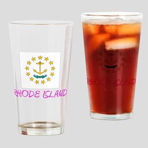 Rhode Island Flag Artistic Pink Des Drinking Glass