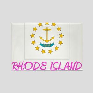 Rhode Island Flag Artistic Pink Design Magnets