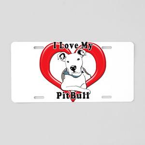 I love my Pitbull logo copy Aluminum License Plate
