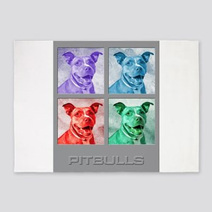 Homage to Warhol Pitbulls 5'x7'Area Rug