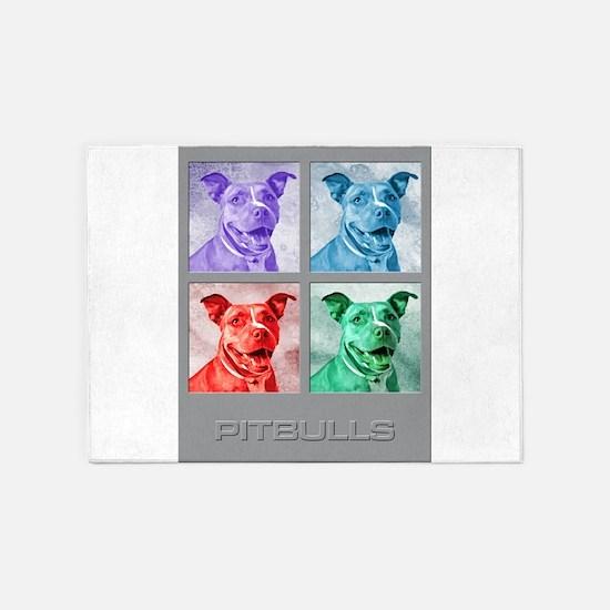 Homage to Warhol Pitbulls 5'x7'Area Rug