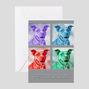 Homage to Warhol Pitbulls Greeting Cards