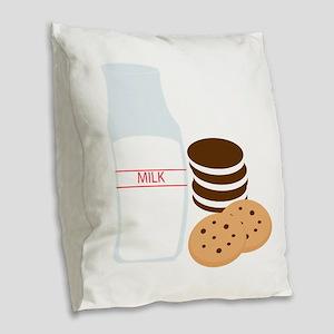 Cookies Milk Burlap Throw Pillow