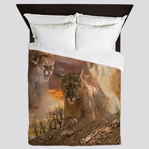 Mountain Lion Collage Queen Duvet