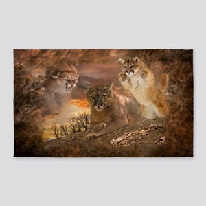 Mountain Lion Collage Area Rug