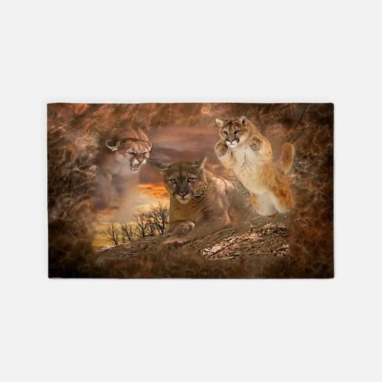 Mountain Lion Collage Area Rug