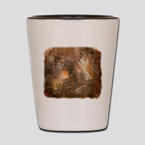 Mountain Lion Collage Shot Glass