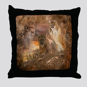 Mountain Lion Collage Throw Pillow