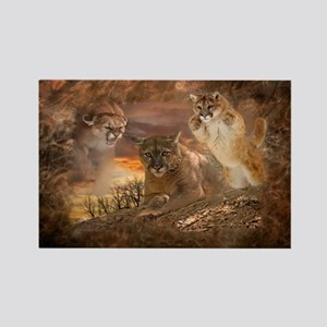 Mountain Lion Collage Rectangle Magnet