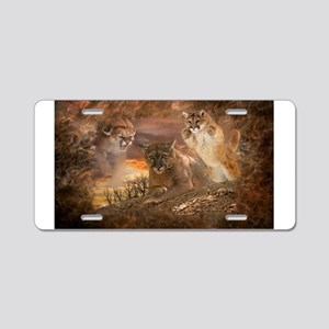 Mountain Lion Collage Aluminum License Plate