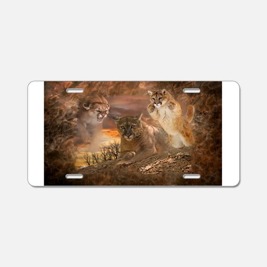 Mountain Lion Collage Aluminum License Plate