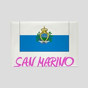 San Marino Flag Artistic Pink Design Magnets