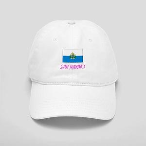 San Marino Flag Artistic Pink Design Cap