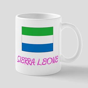 Sierra Leone Flag Artistic Pink Design Mugs