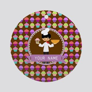 Modern Cupcakes Monogrammed Perso Ornament (Round)