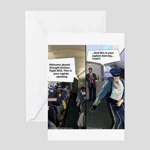 Hipster Airline Pilot Greeting Cards