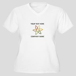 Bright Flower Log Women's Plus Size V-Neck T-Shirt